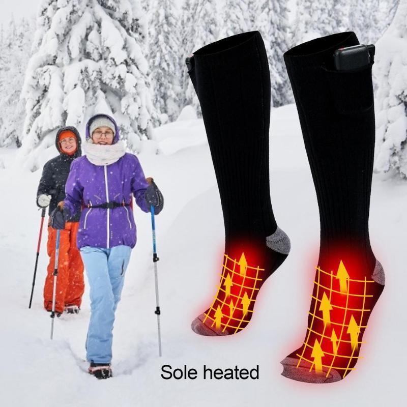 Спортивные носки 1 Пара Электрическая Нагретая аккумуляторная батарея для холодных ног Утечники Зимний Наружный Велоспорт Тепловый