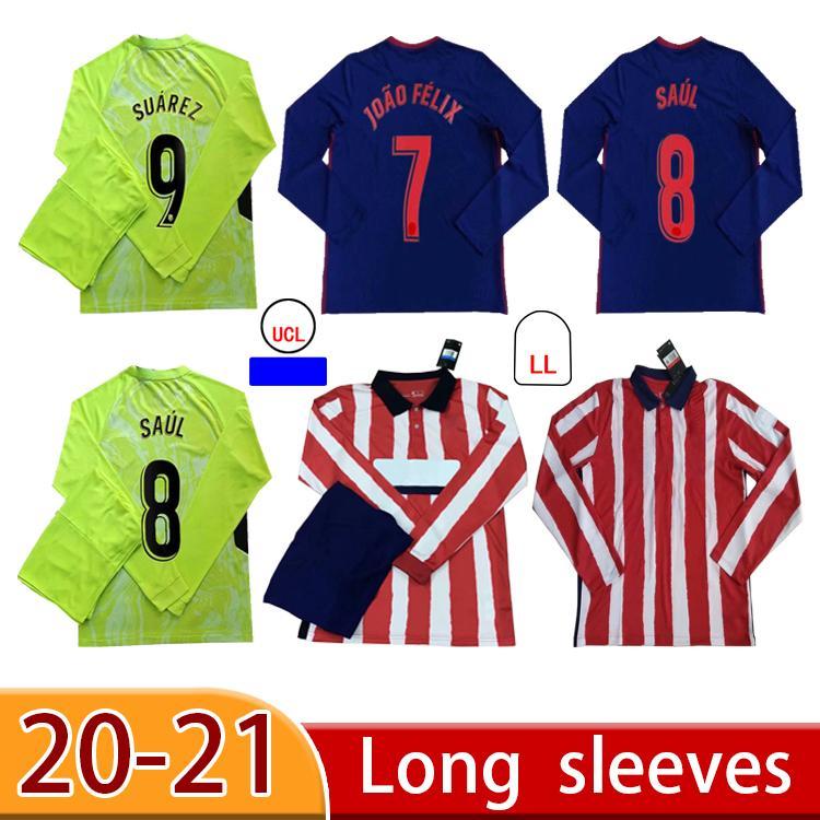 Personalizado Manga Longa Joao Felix Jerseys 2020 2021 Saul Morata Felipe H.Herrera Camisetas de Fútbo Suarez Correa Camisa