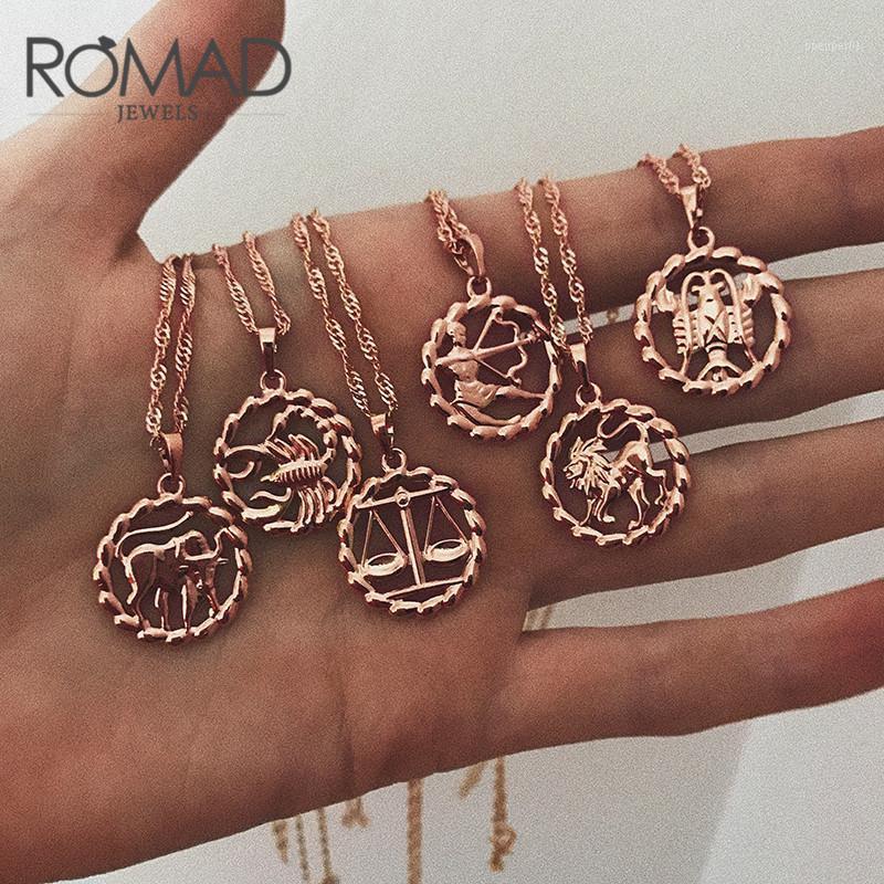 Romad Colgante Collar para Mujeres 12 Zodiaco Signo Constelación Amarillo Rosa Rosa Llena Collares Formas Redondas R41