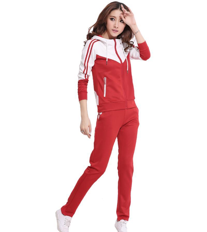 Frauen Sportanzug Dame Hoodies Set mit Pants Zweiteilige Patchwork Reißverschluss Freizeit Baumwolle Sportbekleidung S-4XL