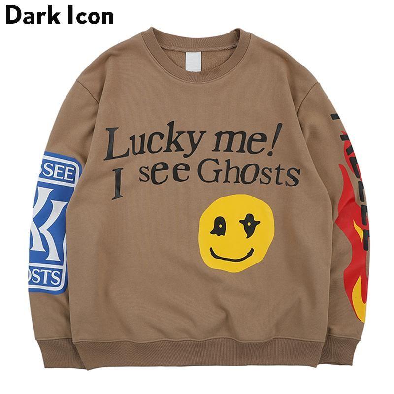 Escuro Lucky Me vejo fantasmas Moletons Homens 2020 Primavera Letras Chama Impresso Hip Hop camisola Terry Mens Moletons