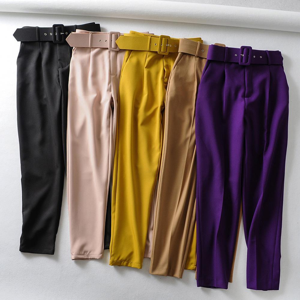 Donne eleganti pantaloni neri faccette tasche con cerniera volano i pantaloni casual chic signore solide streetwear PANTALONES 9 colori 201015