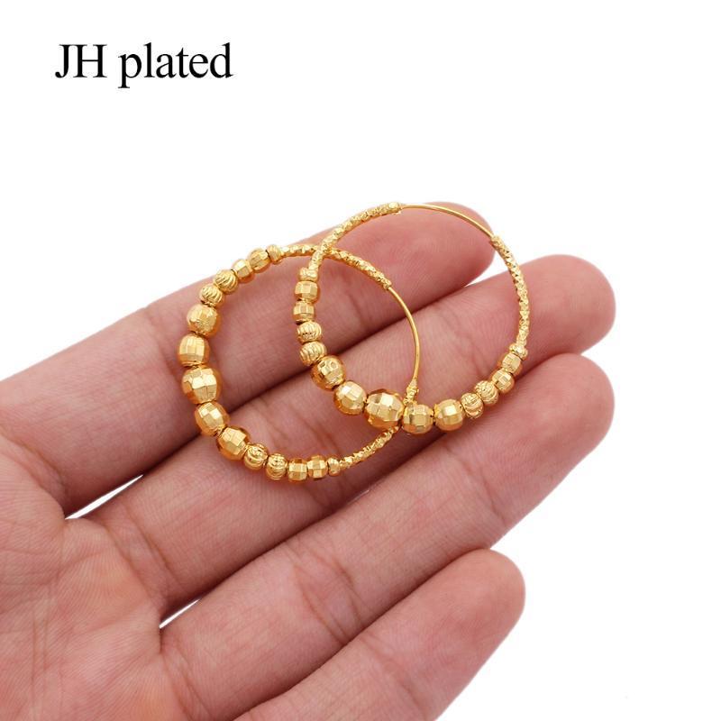 Earings 24k Color Oro Grandes Pendientes Redondos Pendientes Piercing Pendientes Oro Piercings Accesorios Para Mujeres / Niñas Adornos Regalos De Joyería