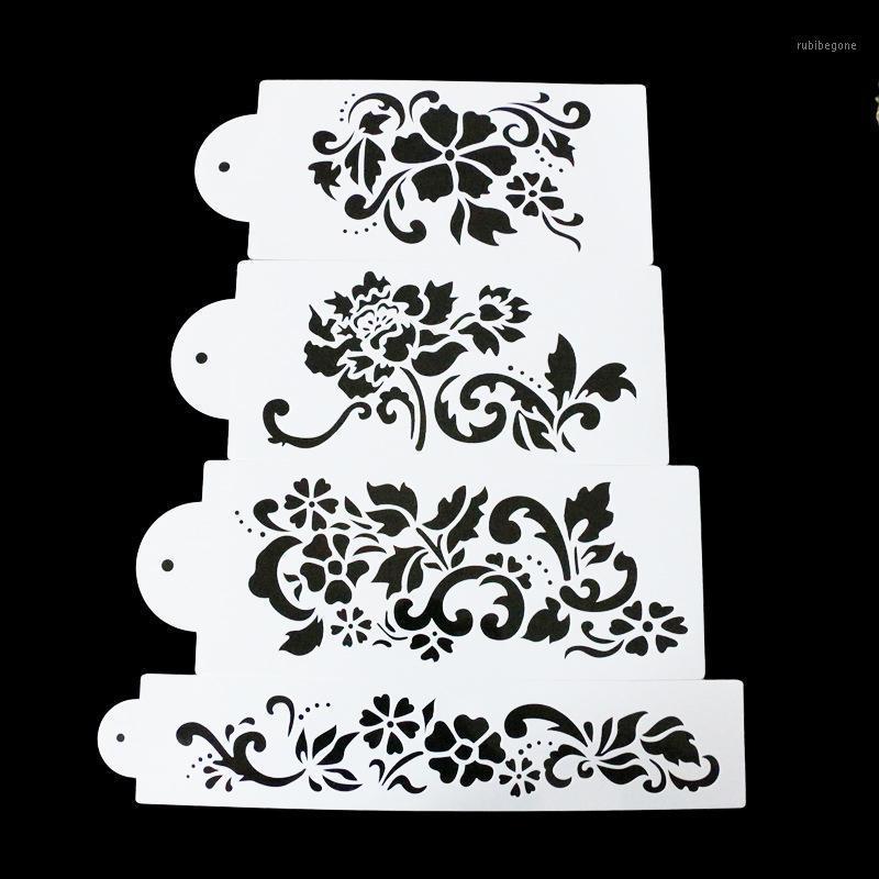 Herramientas de pastel 4pcs / Set Diferente estilo Flor de ciruela dulce Spray Spray Plantillas Cumpleaños DIY Molde Postre decoración de pan E7931