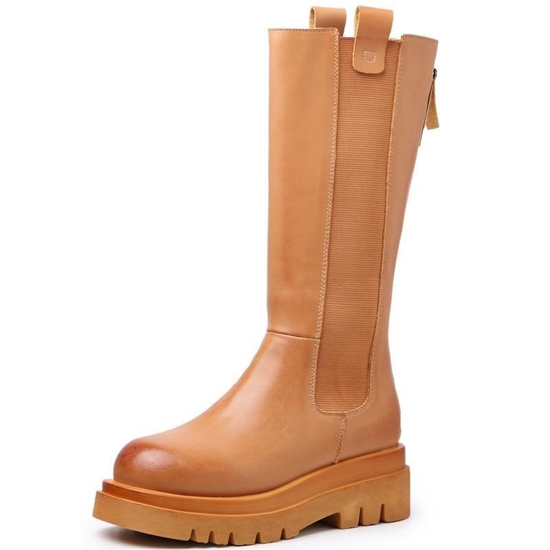 Rasmeup Hakiki Deri Kadın Orta Buzağı Çizmeler Hakiki Deri Moda Kadınlar Uzun Çizmeler Sonbahar Yuvarlak Toe Bayanlar Platform Ayakkabı 201124