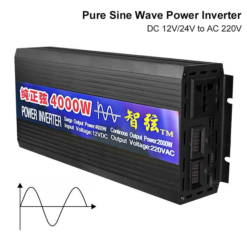 Inversor de onda de senoidal puro DC 12V 24V para conversores de tensão AC 220V 2000W 3000W 4000W 5000 6000W PowarCar energia solar