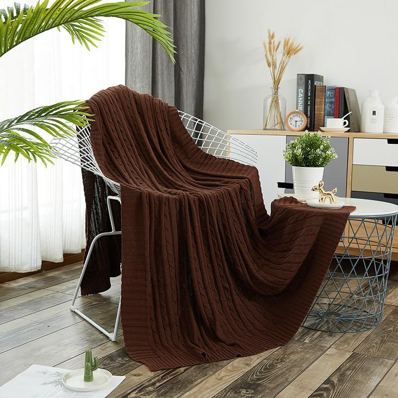 Новая мода Pure Color Утолщение мягкого вязания кроватей Софа бросает автомобиль кровать полоса хлопка 120x170 см одеяло на 100%