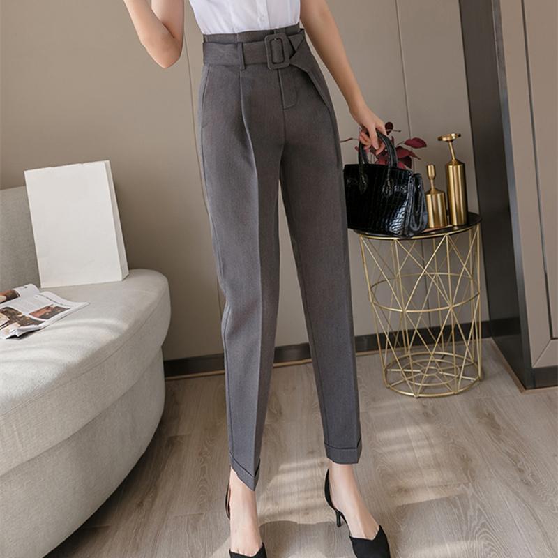 2020 New Korean OL Style Black Women Formal Harem Sashes Pants Pockets High Waist Elegant Office Lady Ankle-Length Pants LJ201030