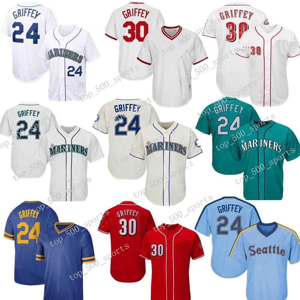 빈티지 Ken Griffey JR Jr. 저지 청록 녹색 2016 명의 명예의 전당 30 Griffey Jr. 야구 유니폼