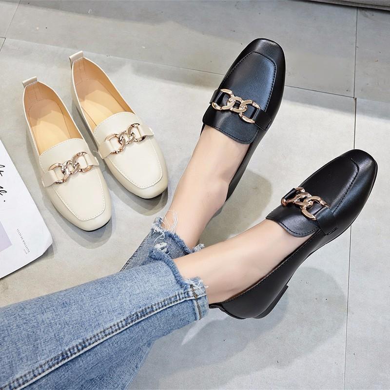 CARuY 2020 квадратной голова плоской подошва женской моды металлической обувь декоративной лодок одиночной удобная ленивая обувь