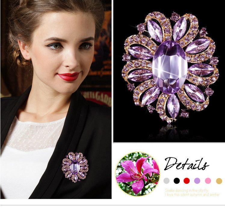 Factory Direct Sale clássico de cristal strass e broche de flor grande oval acrílica Pins para Mulheres em várias cores