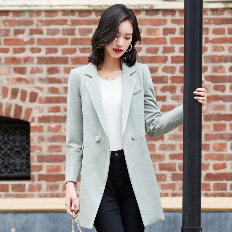 Artı Boyutu kadın Ceket Katı Renk Düğmesi Takım Elbise Ceket Yaka Hırka Ceket kadın Bahar Sonbahar Uzun Kollu Orta Uzunluk1