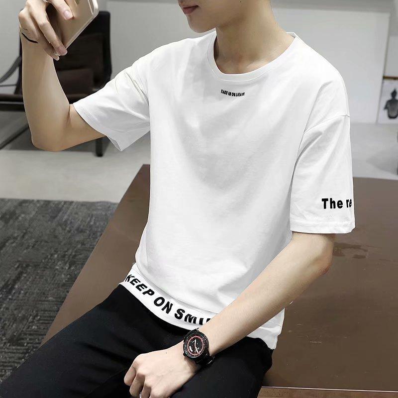2019 Yeni erkek Kısa Kollu Tişört Yaz Kişilik Ins Hip Hop Gevşek Sokak BF Yarım Trend