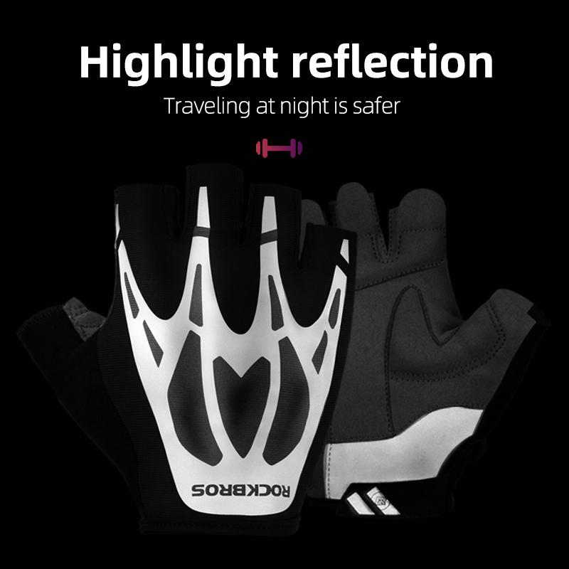 ROCKBROS Bicycle Gloves Outdoor Sport Men Women Fitness Summer Autumn Half Finger OEM Logo Acceptable Reflective Cycling Gloves
