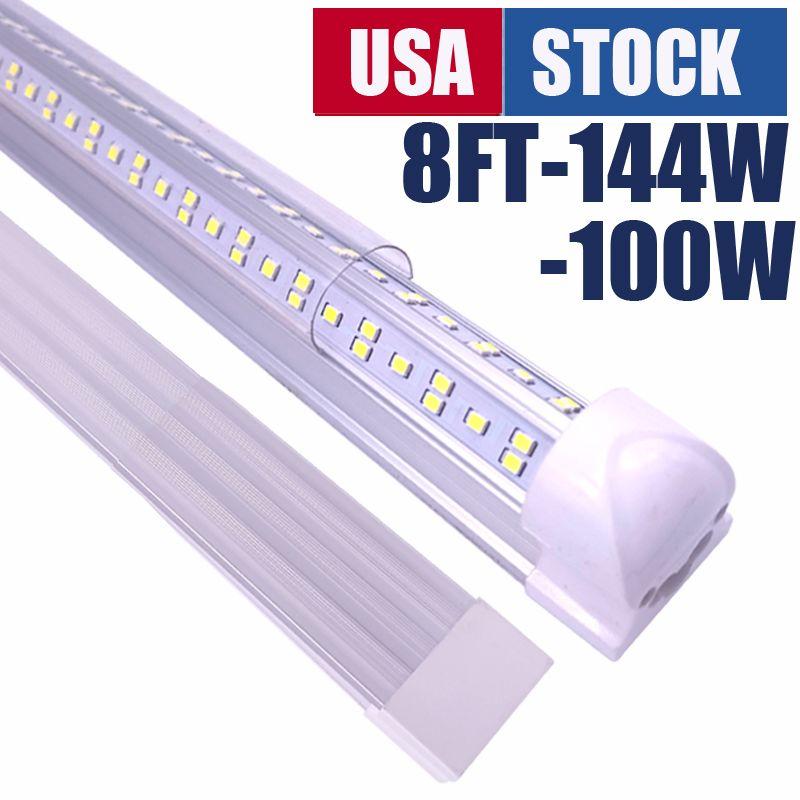 2 3 4 5 6 8 pies LED Tienda de luces Forma V Integración de doble fila T8 TUBO Frío Frío 270 Grados Bulbos de ángulo de haz para almacenaje Taller de garaje Lámpara de montaje en superficie lingable