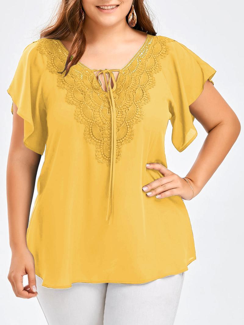 Мода летние женщины сплошные блузки с коротким рукавом 2021 кружева новая повседневная плюс размер шифон свободно цветочные V-образные шейные рубашки топы Eaeov