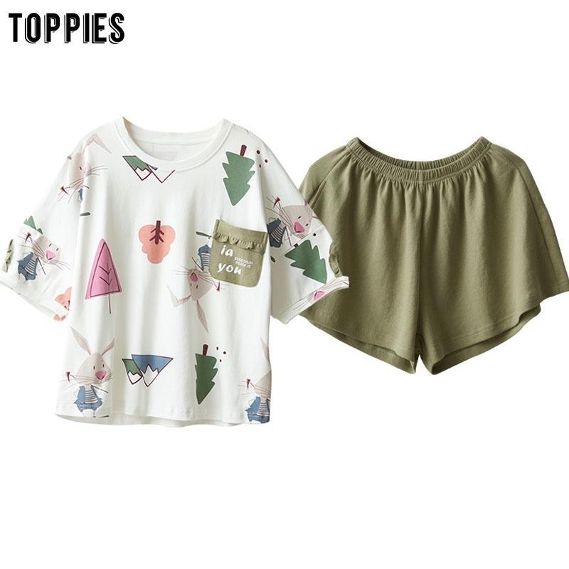 Toppies Хлопок пижамы женские наборы летом с короткими рукавами футболки и шорты лолита милые сонные ночные одежды T200702