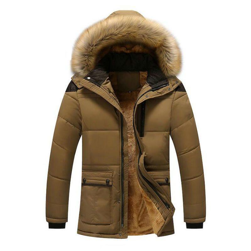 Homens de Moda de Nova Winter Jacket Men Thick Casual Jackets Men Outwear com capuz Windproof Parkas Plus Size 6XL Velvet Y1111 casaco quente
