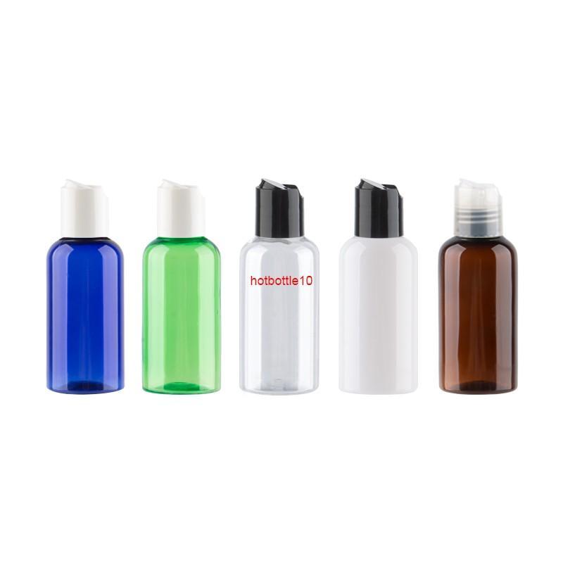 Wholesale 75 ml de disco redondo top top top botellas de plástico cosmético con tapas utilizadas para aceite esencial líquido líquido champú 30pcs / lotshipping