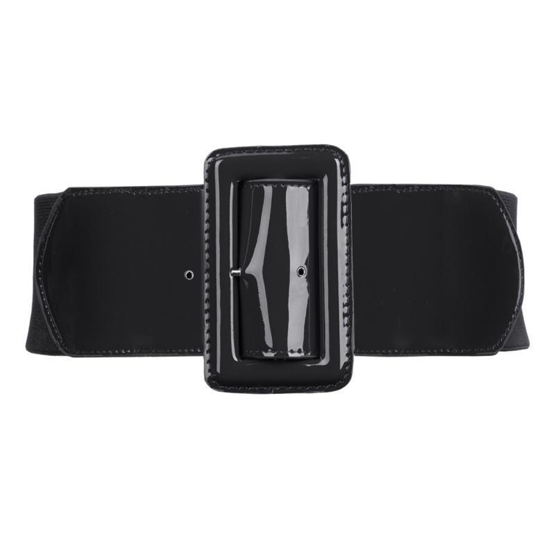 Ceintures de mode Casual femmes Ladies filles Classique Boucle extensible taille élastique ceinture ceinture en cuir PU Ceinture HABILLÉES Jupes