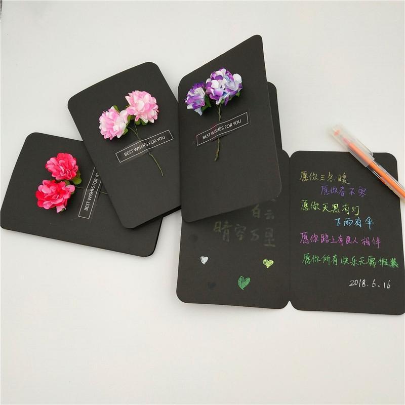 Цветы Сушеные DIY Цветы Открытки Творческий Handmade благодарения День матери поздравительную открытку Рукописные Blessing Поздравительные открытки