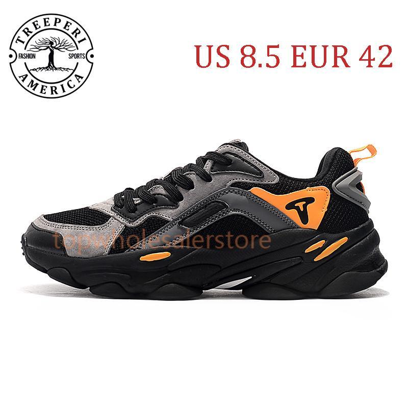 أفضل تريبيري الأزياء مكتنزة 700 لينة أحذية ركض وحيد أسود رمادي برتقالي الولايات المتحدة 8.5 EUR 42 للرجال المدربين