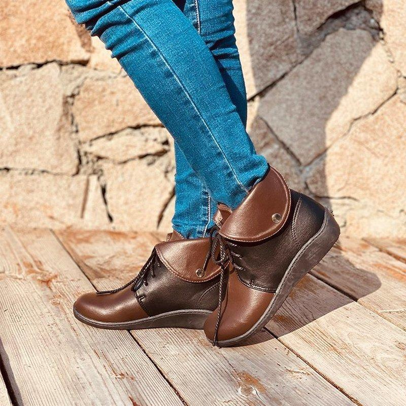 women ankle boots low heels pumps shoes woman vintage PU leather wedges warm shoe chaussures femme zapatos mujer sapato D2245