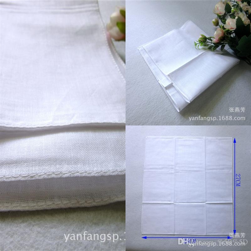 RCW erkek saf pamuk beyaz mendil 28 cm saf pamuk beyaz küçük kare havlu boyama kravat boya baskı DIY küçük kare yüz havlu