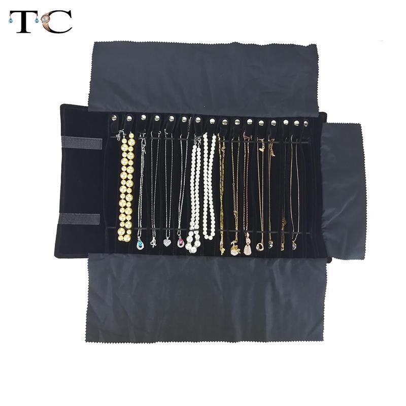 Портативный дисплея ожерелья мешка ожерелья держателя ювелирных изделий Ролл сумка черного бархата кулон Устроитель ювелирных изделий сумка для хранения