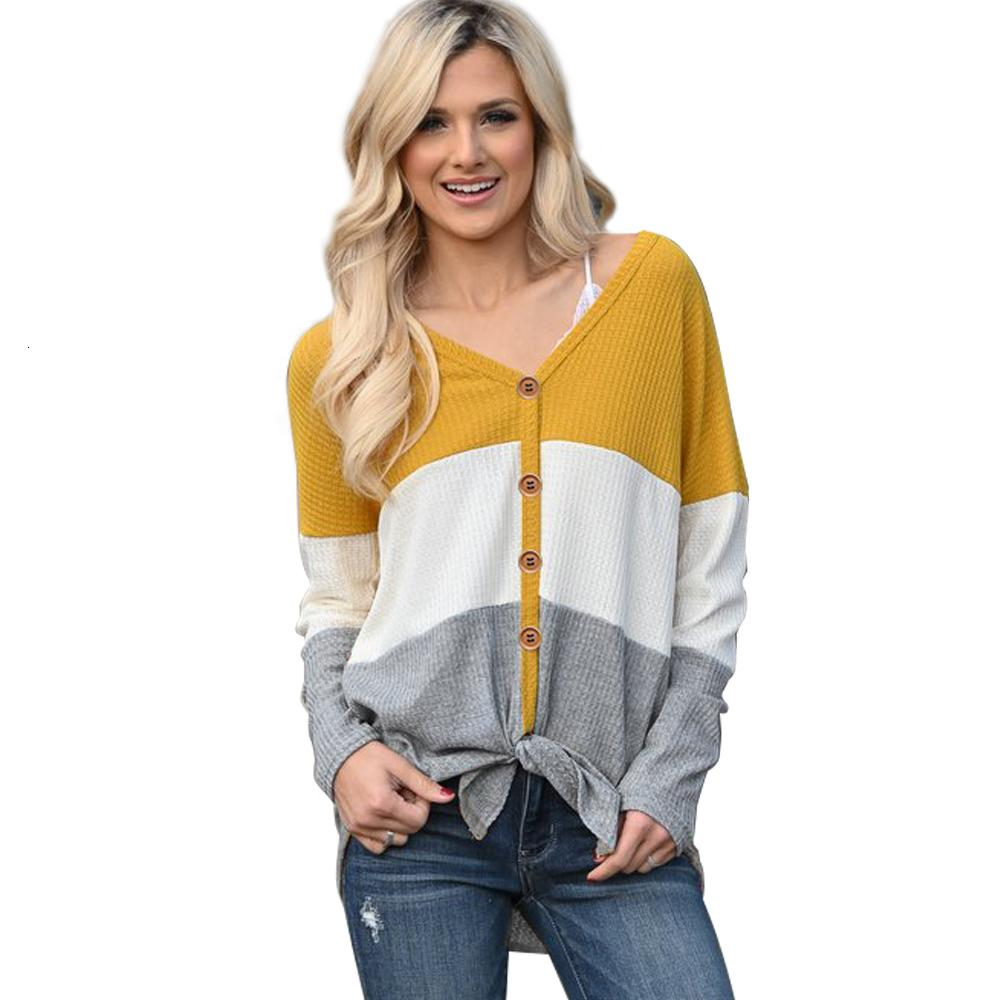 Women's Striped Casual Autumn 2020 Female Long Sleeve Stitching V-neck Button Sweater Ladies Loose Top