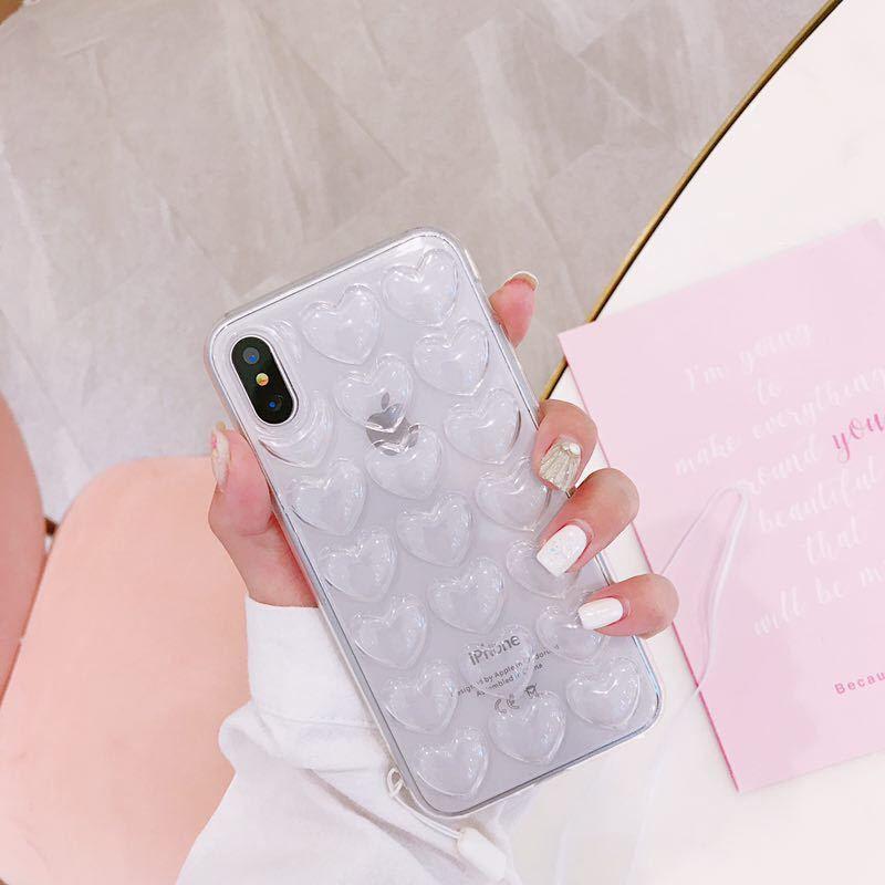 Quatro cores amor tridimensional para Telefone iphone XS Max móvel para o iPhone 11 Silicone Lanyard macia capa