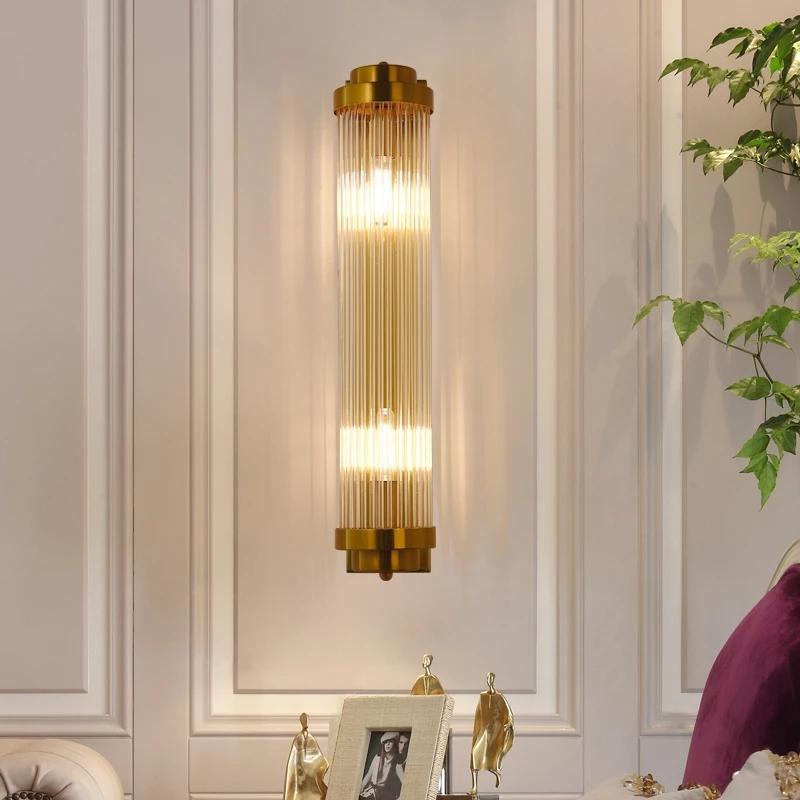 parede LED Europeia dourada luxuosa luz dourada parede de cristal lâmpada do hotel sala de estar lâmpada de cristal rotativo lâmpada de parede exterior