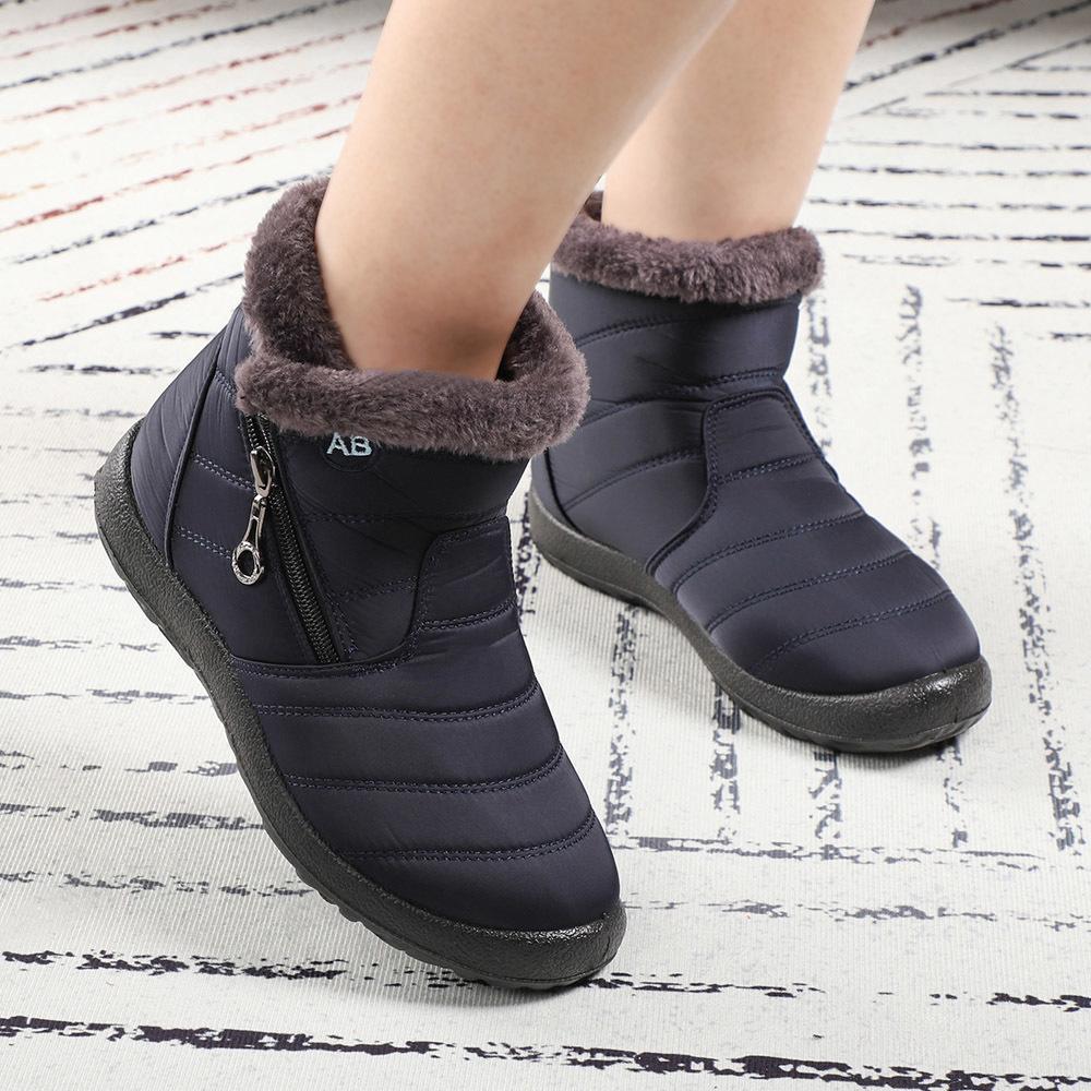 Зимняя обувь Женщина Snow Boots Водонепроницаемых Плюшевых Fur голеностопного Девушку Для загрузки Черного Красного Femmes Bottes Esbotas Invierno Botas De Mujer Q1104