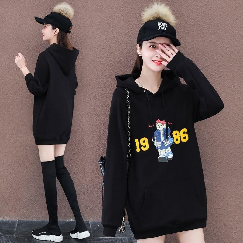 El otoño y el invierno mediados de longitud suéter engrosamiento 2020 nueva capa de las mujeres felpa floja coreana de las mujeres de la moda de marca