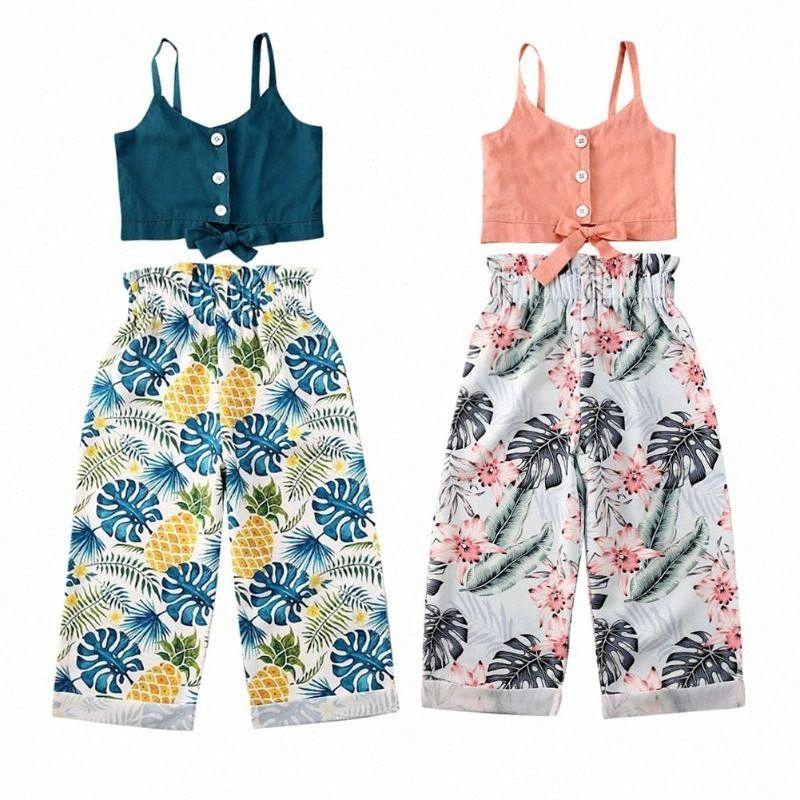 Pantaloni del bambino bambini della neonata Sling Top floreali Pantaloni Summer Holiday Outfit wzts #