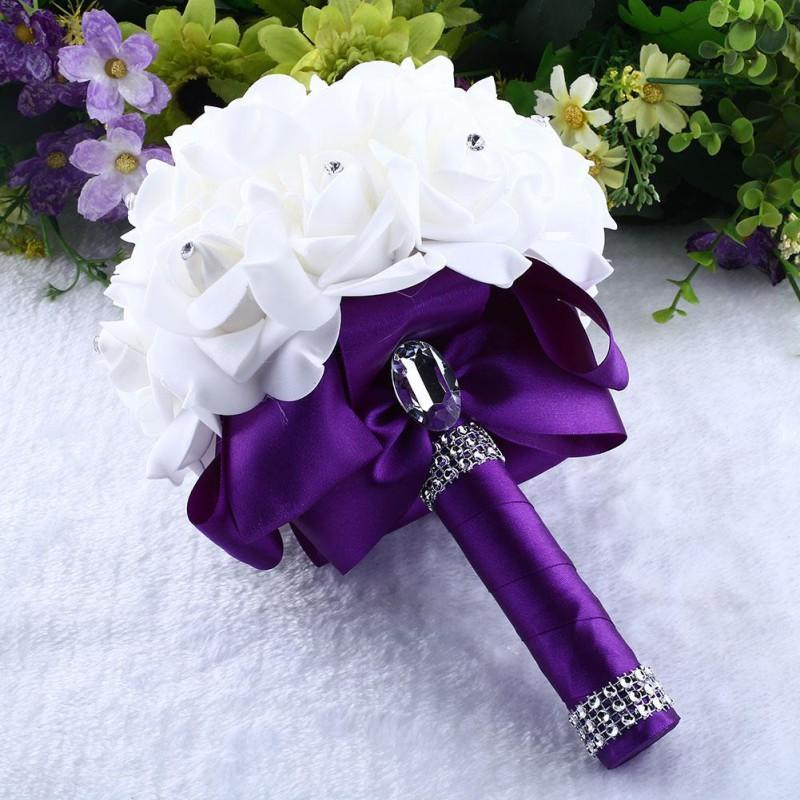 Nova Bride Bride Rhinestone Casamento Buquê Falso Flores Artificiais Decor Presente Decoração Home