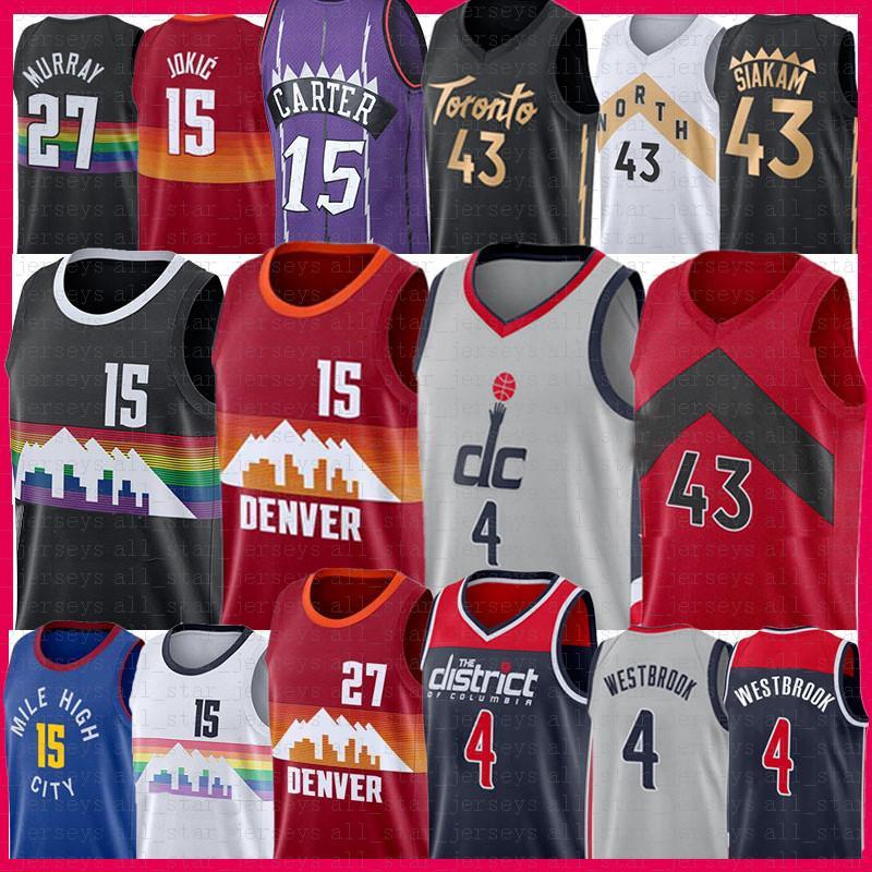 Nikola 4 Russell 15 Westbrook Jokic Pascal 43 Siakam Basketball Jersey Jamal 27 Murray Vince 15 Carter Jersey 2020 2021 New Mens Cheap sale