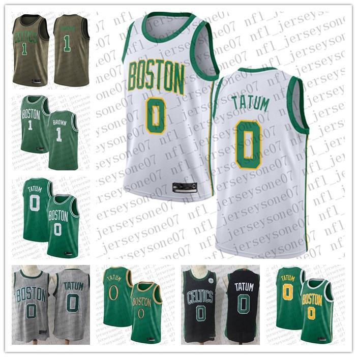 2020 мужчин женские молодежи БостонCeltics.0 Jayson Tatum # 1 Уолтер Браун Черный Баскетбол Аутентичные выписки Издание Пользовательские Джерси