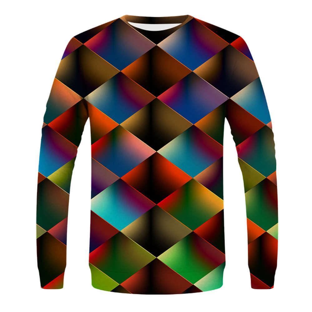 Otoño e invierno 2020 nuevo impresión digital 3D manga larga cuello redondo suéter