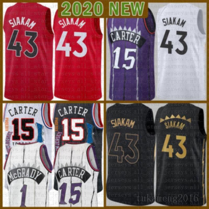 2021 Novo Vince 15 Carter Basketball Jersey Pascal 43 Siakam Mens Kyle 7 Lowry Mesh Retro Tracy 1 McGrady Juventude Kids Marcus 21 Camby Blue