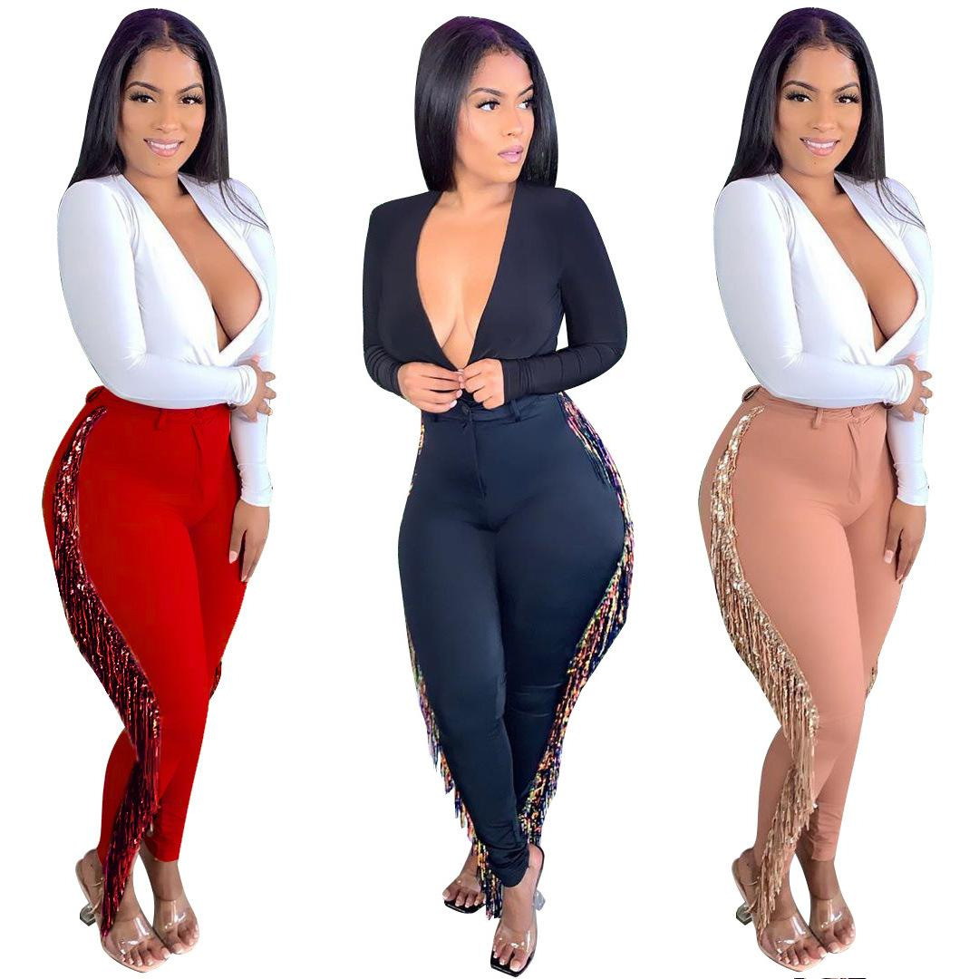 2021 Tassels Sexy Elegant High Waist Tights Tassel Fashion Sexy Versatile Fringed Pants Plus Size S-5XL