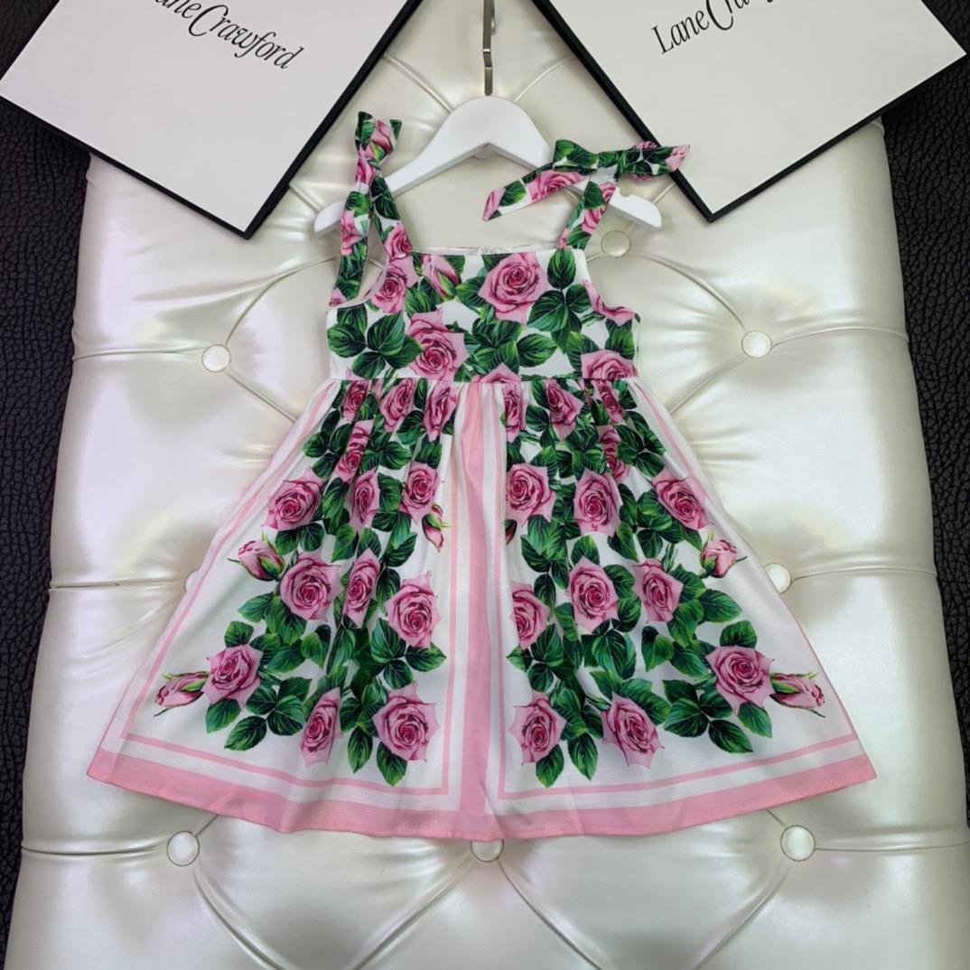 Hot Baby Girls dress 2021 Summer Kids Girls suspender bow Dresses Clothes Fashion Print Children's Beach Dress