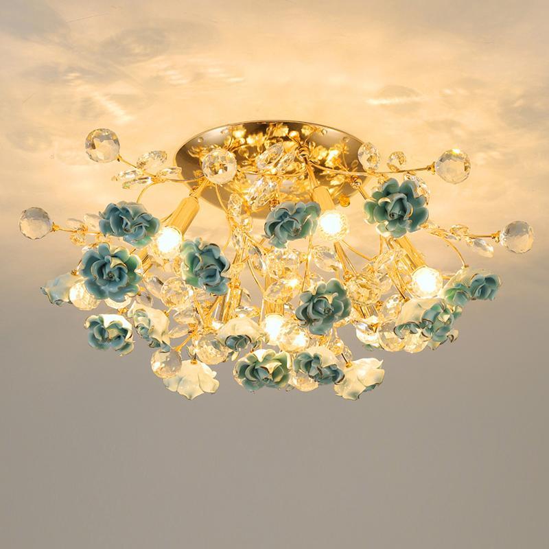 Avrupa Kristal Tavan Işıkları Modern LED Seramik Lamba Yaratıcı Oturma Odası Dekorasyon Lambası Nordic Yatak Odası Yemek Odası Kristal Avizeler
