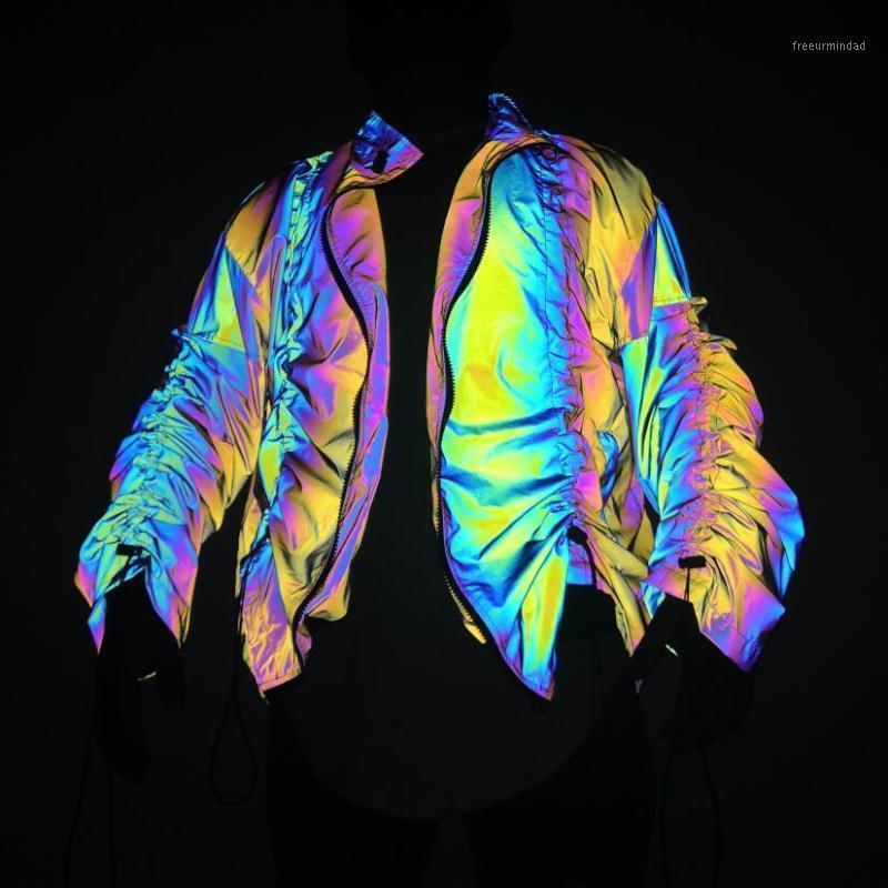 Мужчины Красочные Светоотражающие Куртка Плиссированный дизайн Негабаритные Куртки Человек Стенд Воротник Хип-Хоп Панк Панк Тайкета Jaqueta Masculina1