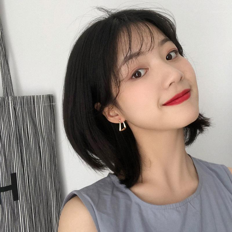 Koreanische Goldfarbe Geometrische Kleine Bolzenohrringe für Frauen Mädchen Einfache Nette Aussage Bols KPOP Ohrring Modeschmuck 20201