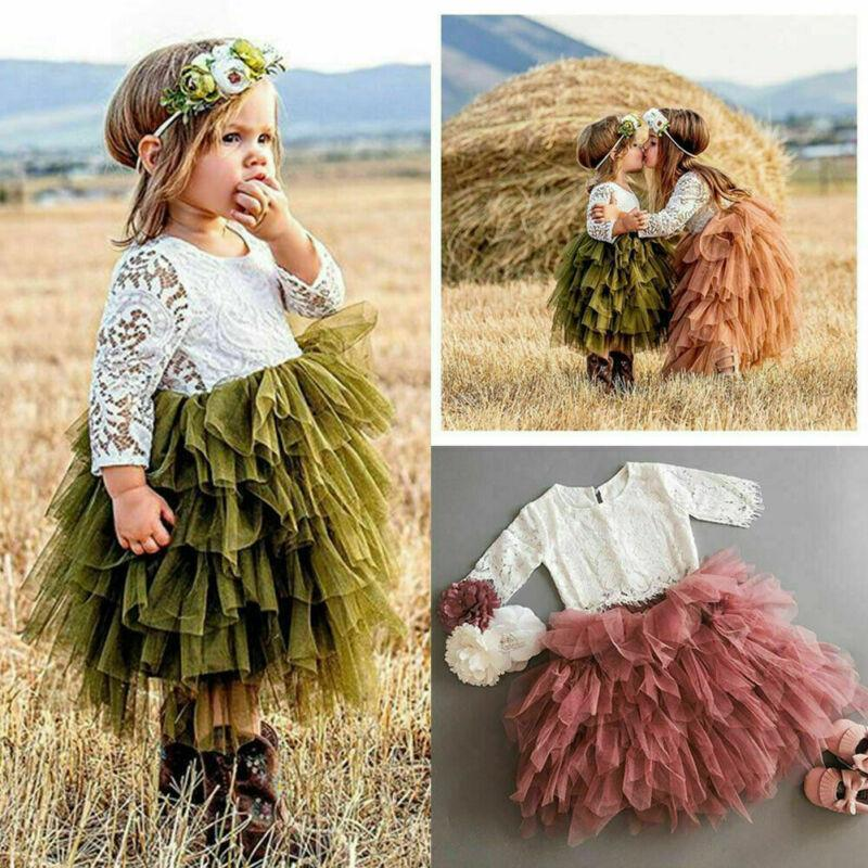 Princess Toddler Kid Baby Girl Clothes Top T-shirt Skirt Dress Lace Outfits Sets