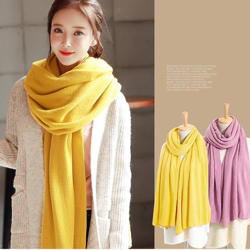 Neue Art und Weise koreanische Version des weißen Student Winter Wolle Schal einfarbig stricken dick großen Schal lang unisex Paar 201019 verbreitern