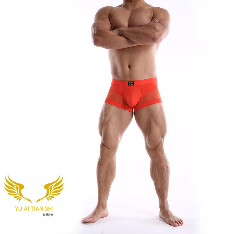 Erkek Seksi Eşcinsel erkek Iç Çamaşırı Naylon Mesh Ekleme Nefes Seksi Boxer Pantolon 2020 Yeni Y1218