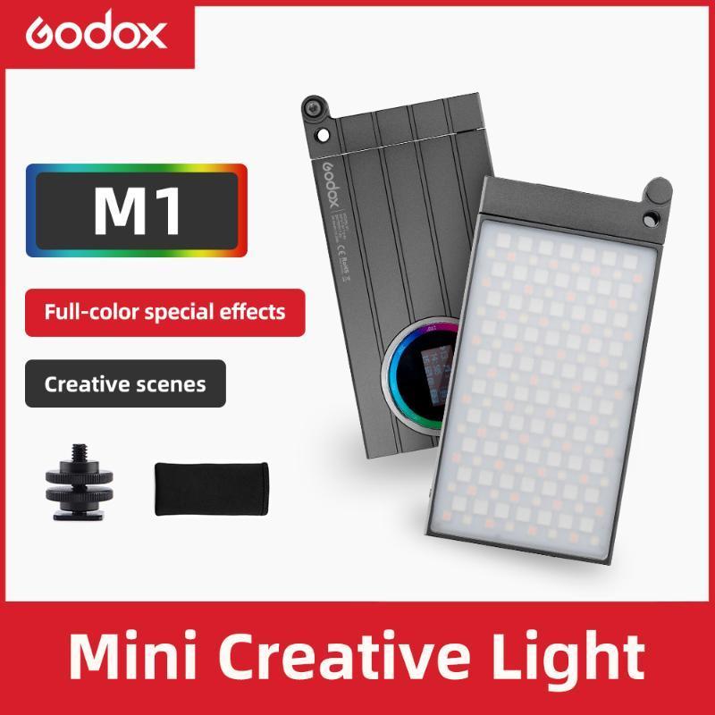 Godox M1 2500k-8500K Full Color RGB LED Light Light Pocket Alliage Aluminium LED Vidéo Creative Light Multiple Effections spéciales Fonction