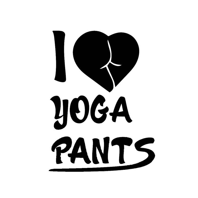10 * 13.2 cm PAROLE I Love Yoga Pants Sexy Black / Silver Fashion Design Adesivo auto Adesivo Vinyl Decal Zero difettoso C20-0565